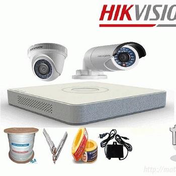 trọn bộ 2 camera giá rẻ hikvision 1mp