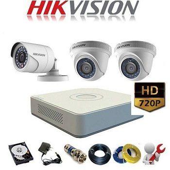 trọn bộ 3 camera giá rẻ hikvision 1mp