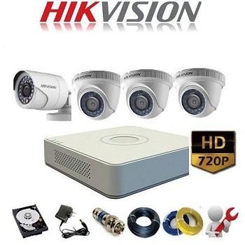 trọn bộ 4 camera giá rẻ hikvision 1mp