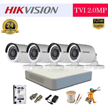 trọn bộ 4 camera tầm trung hikvision 2mp