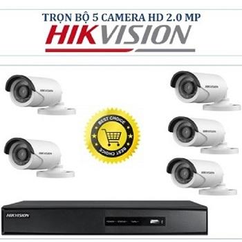 trọn bộ 5 camera tầm trung hikvision 2mp