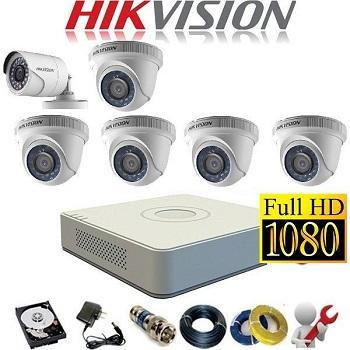 trọn bộ 6 camera giá rẻ hikvision 1mp