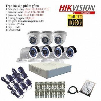 trọn bộ 6 camera tầm trung hikvision 2mp