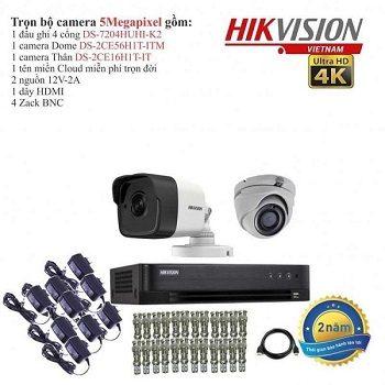 trọn bộ 2 camera cao cấp hikvision 5.0