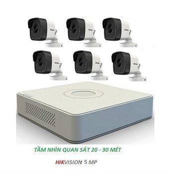 trọn bộ 6 camera cao cấp hikvision 5mp